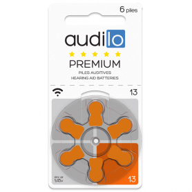 6 Piles Auditives Audilo Premium 13 Orange